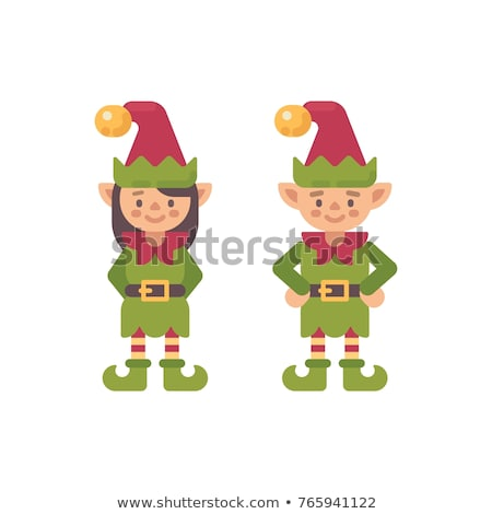 Stockfoto: Two Cute Christmas Elves Flat Illustration Holiday Character Fl