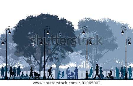 Paar kinderwagen familie mensen park vector Stockfoto © robuart