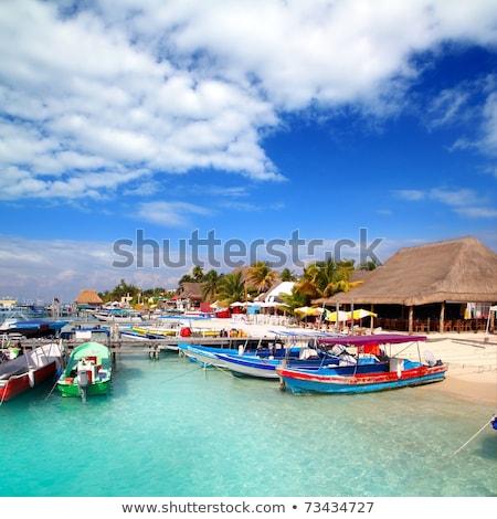 észak tengerpart Cancun Mexikó Karib égbolt Stock fotó © lunamarina
