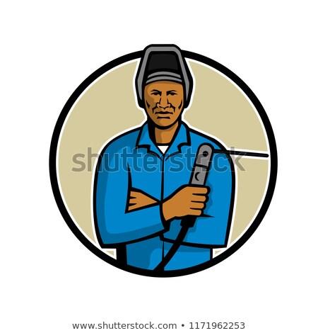 Africano americano soldador mascote ilustração preto Foto stock © patrimonio