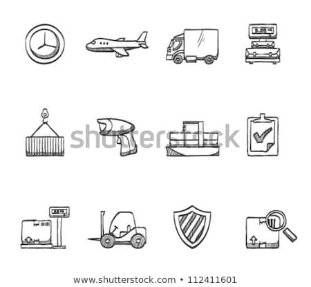 倉庫 フォークリフト トラック 段ボール ボックス 手描き ストックフォト © RAStudio