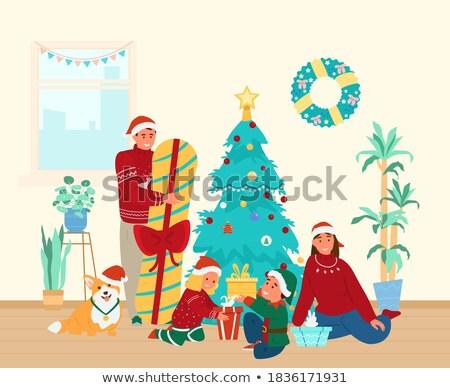 christmas · vakantie · kinderen · geschenken · vector · poster - stockfoto © robuart