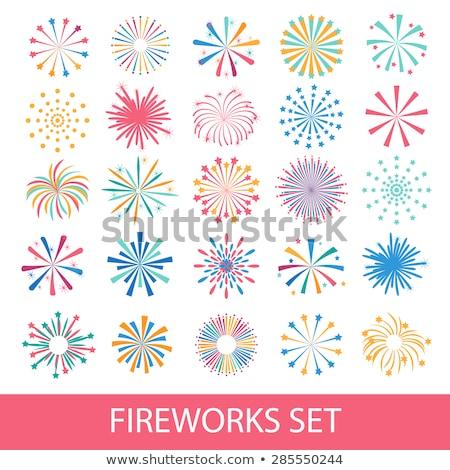 Pyrotechnics festival flat icons set Stock photo © netkov1