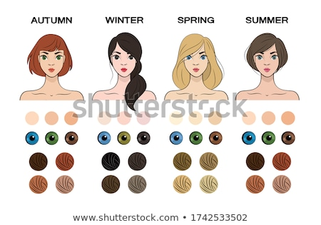Seasonal color types for women skin beauty set: Summer, Autumn, Winter, Spring. Young female faces,  Stock photo © bonnie_cocos