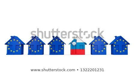 House with flag of slovenia in a row of EU flags Stock photo © MikhailMishchenko