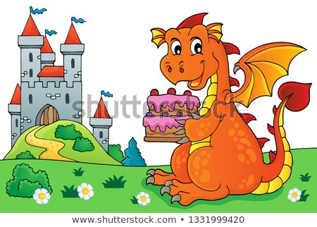 dragon holding cake theme image 5 stock photo © clairev