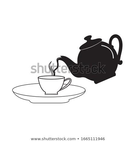 Tea Cup Pot Pour Illustration Stock photo © lenm