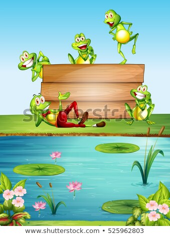 Wooden sign template with many frogs by the pond Stock photo © colematt