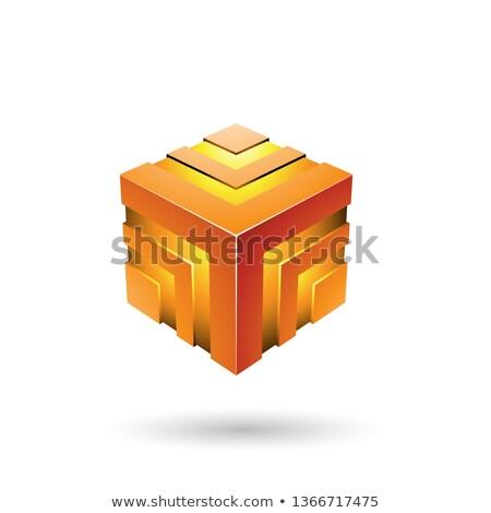 Laranja listrado cubo vetor ilustração isolado Foto stock © cidepix