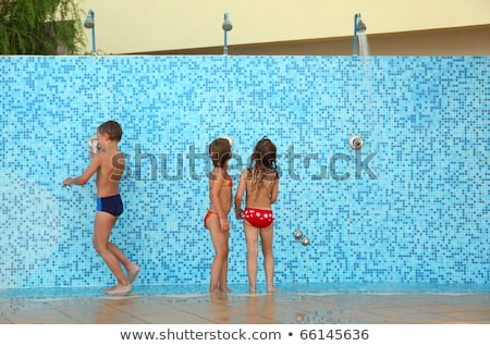 Twee jongens douche illustratie kind Stockfoto © colematt