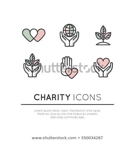 Charity, donation and philanthropy concept icon - hands with hea Stock photo © Winner