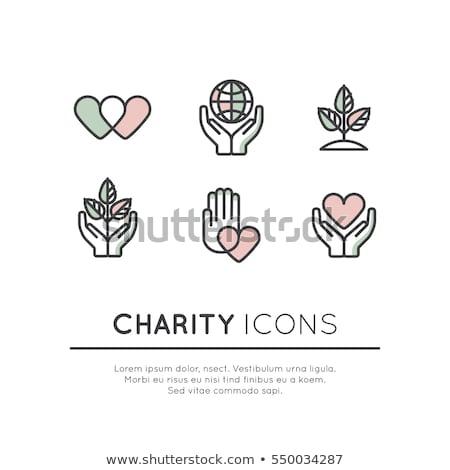 œuvre de bienfaisance contribution philanthropie icône mains coeur Photo stock © Winner