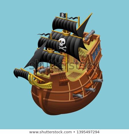 kalóz · vitorlás · hajó · égbolt · víz · naplemente · tenger - stock fotó © animagistr