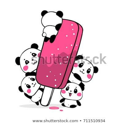 Party panda on pink card Stock photo © bluering