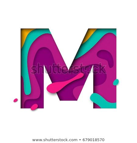 Színes papír kivágás betűtípus m betű 3D 3d render Stock fotó © djmilic