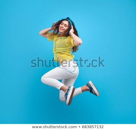 estúdio · retrato · saltando · ar · feliz - foto stock © monkey_business