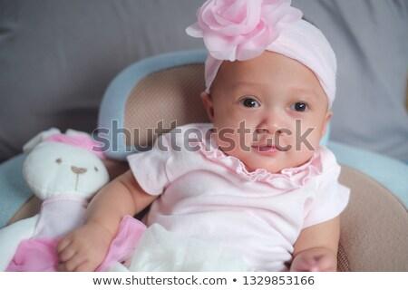 Imádnivaló kettő hónapok kislány megnyugtató hálószoba Stock fotó © Lopolo