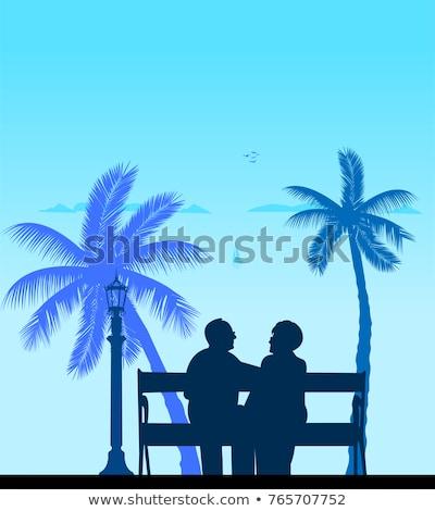 senior romantic man and woman sitting on the beach stock photo © pressmaster