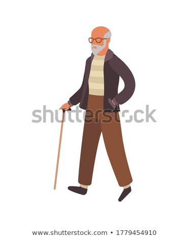 Smiling Pensioners Walking in Urban Park Vector Stock photo © robuart