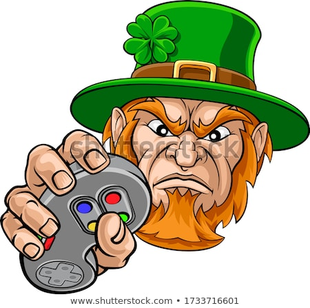 Leprechaun Gamer Mascot and Video Games Controller Stock photo © Krisdog