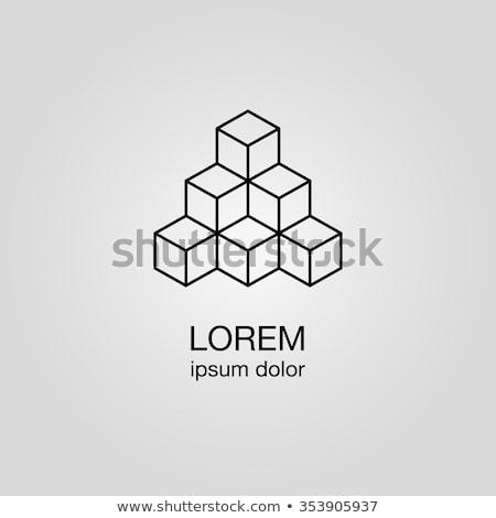 geometric cube flat icon stock photo © smoki