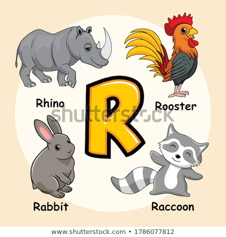 letter R worksheet with rhinoceros animal Stock photo © izakowski