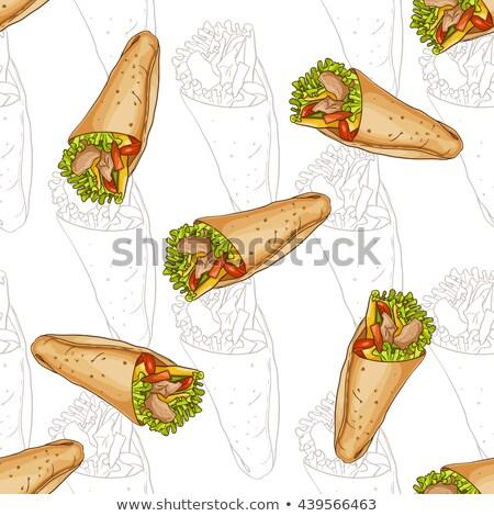 Végtelen minta ízletes mexikói háttér étterem zöld Stock fotó © netkov1