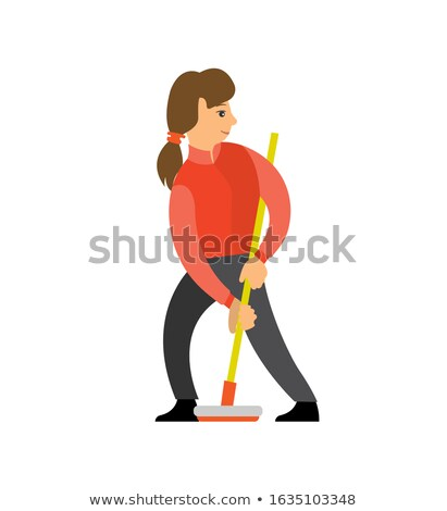 Female Shuffleboard Player Girl with Curling Broom Stock photo © robuart