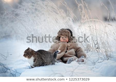 Peu village Noël rouge scène de nuit hiver Photo stock © liolle