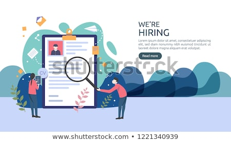 Online Business Web Poster Man Interviewing Worker Stock photo © robuart