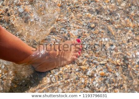 Vrouwelijke benen Rood pedicure licht stenen Stockfoto © dashapetrenko
