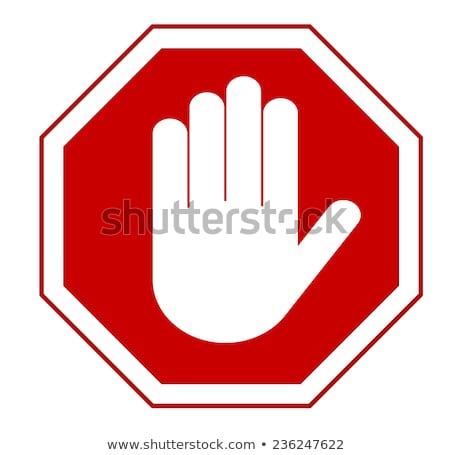 Stop piros felirat tilos tevékenységek számítógép Stock fotó © Andrei_