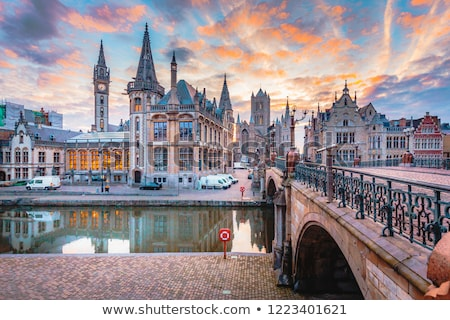 Vista canal Bélgica histórico centro cielo Foto stock © borisb17