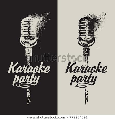 Stok fotoğraf: Modern · mikrofon · karaoke · tek · renkli · vektör · ses