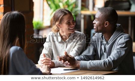 Munkások tanácsadás időbeosztás irodai munka csapatmunka férfi Stock fotó © robuart