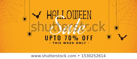 halloween yellow sale banner with spider and cobweb Stock photo © SArts