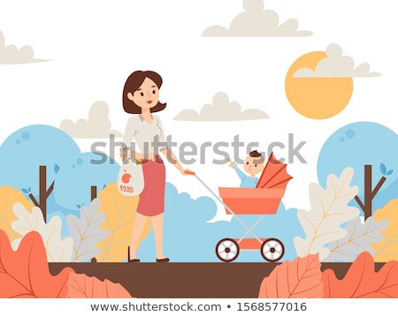 Mother Walking with Baby in Pram in Autumn Park Stock photo © robuart
