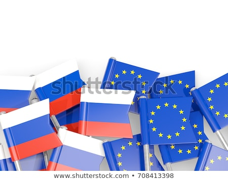 Banderą eu Rosja biały odizolowany 3d ilustracji Zdjęcia stock © ISerg