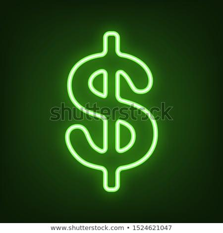 Dólar neón etiqueta negocios promoción Foto stock © Anna_leni