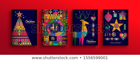 Christmas New Year colorful nordic folk card set Stock photo © cienpies