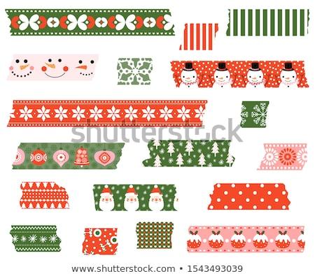 Cute vector paper tape set with Christmas torn stripes  Stock photo © Pravokrugulnik