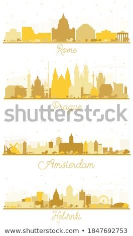 Prága városkép arany sziluett egyszerű turizmus Stock fotó © ShustrikS