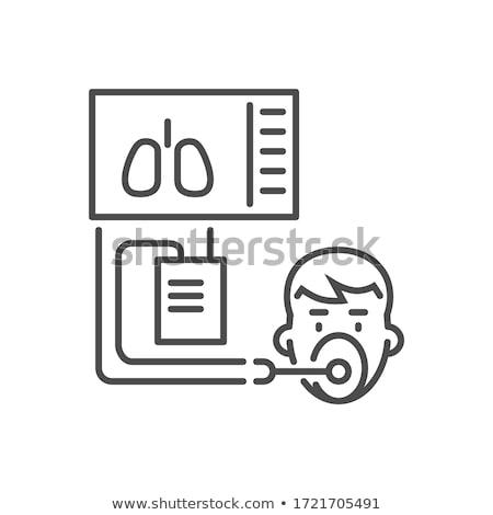 Medical ventilator related vector thin line icon. Stock photo © smoki