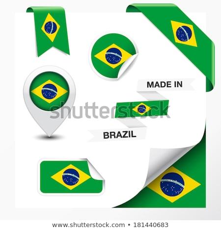 Brasil bandera blanco diseno signo ola Foto stock © butenkow