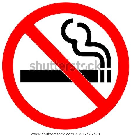 No smoking forbidden sign, cigarette with smoke on white. Stock photo © evgeny89