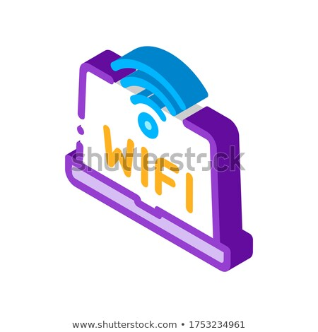 Wifi Sign And Word On Laptop Display isometric icon vector illustration Stock photo © pikepicture