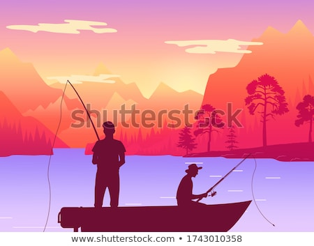 Fishermans in fishing boat. Silhouette of two men sitting in pleasure boat who fish on the lake Stock photo © robuart