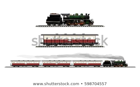 Vintage locomotief trein wielen stoomlocomotief technologie Stockfoto © poco_bw