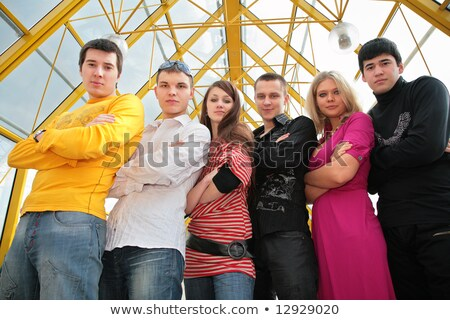 group of young people on footbridge view from below Stock photo © Paha_L