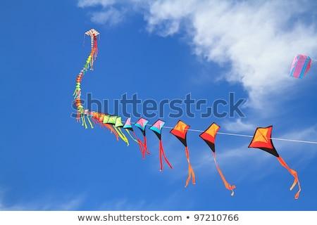 Mavi gökyüzü çocuklar mavi eğlence oyuncak rüzgâr Stok fotoğraf © sahua